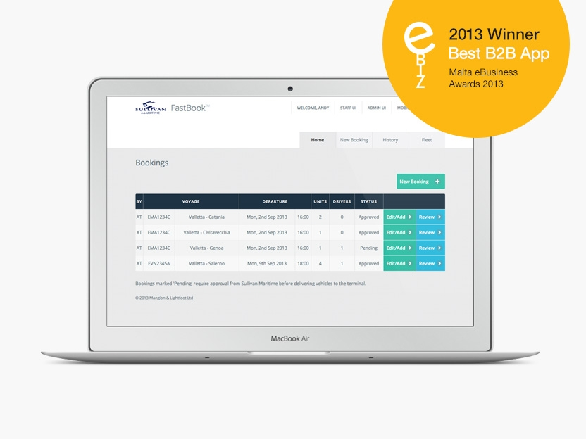 fastbook site on laptop with 2013 Best B2B award