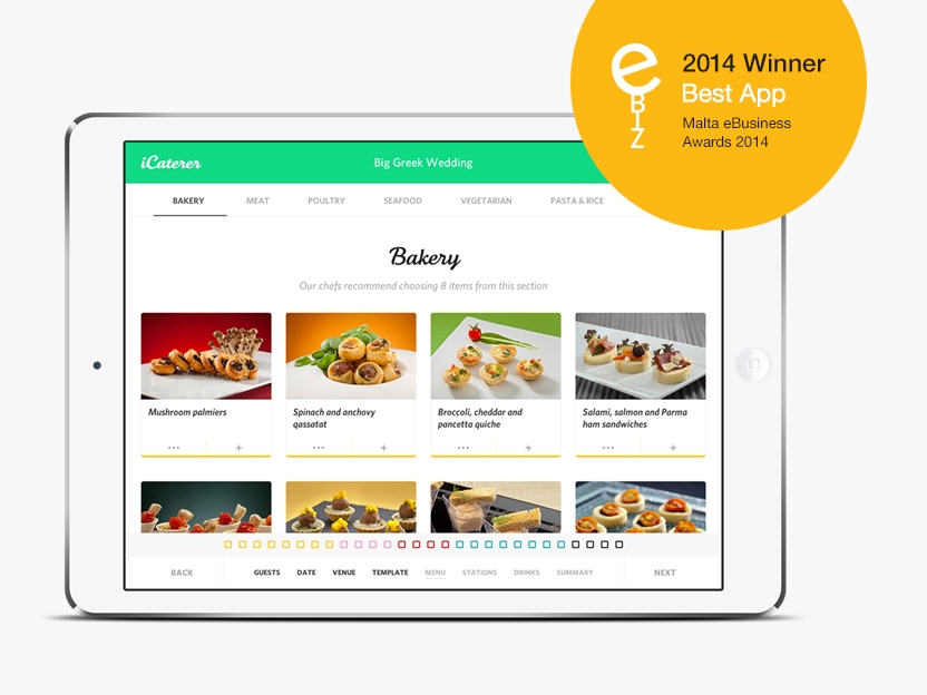 icaterer page with Best App Award